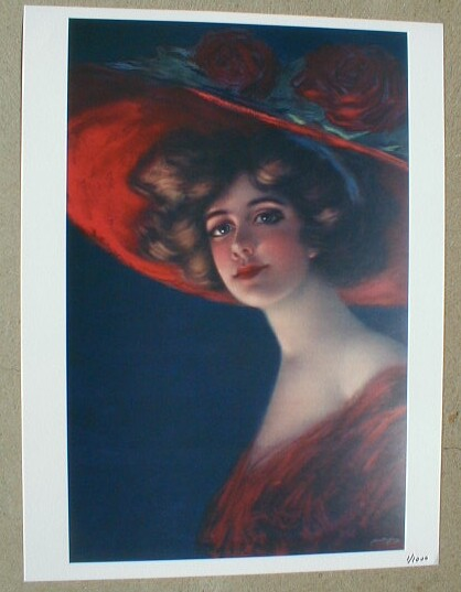 HAMILTON KING HIGH SOCIETY Yard Long Print Lady RED HAT Gibson Girl SCARLETT